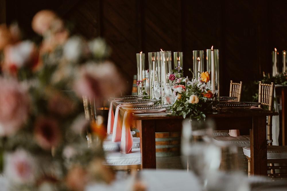 Colorful wedding floral garlands at Saltwater Farm Vineyard