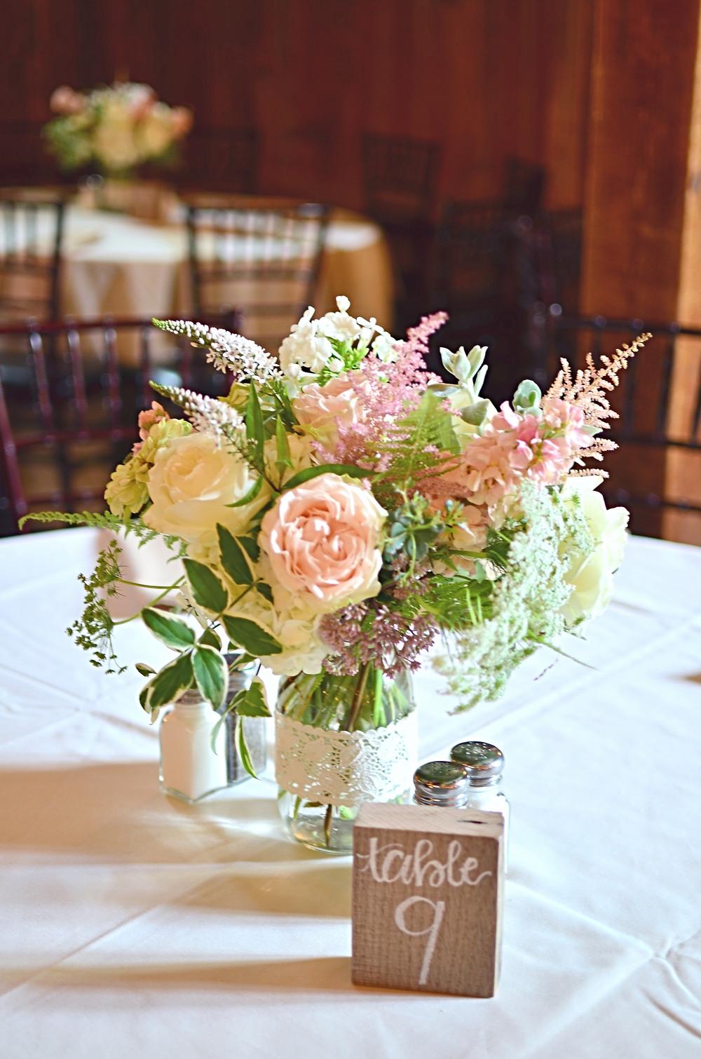 Blush Summer Wedding at The Barns | Centerpieces