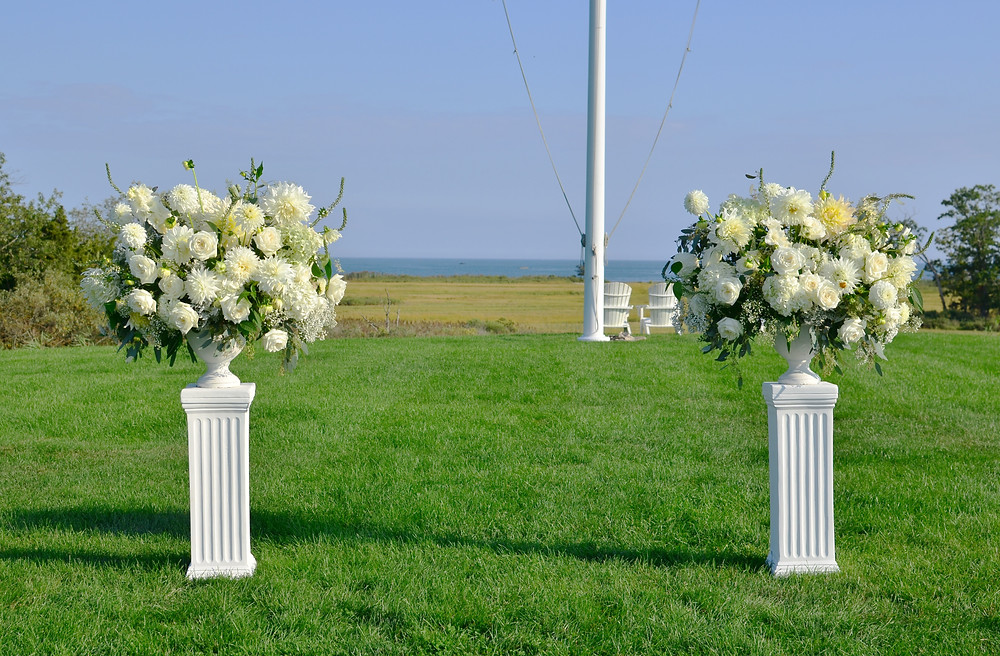 Dahlias & Baby's Breath White Wedding at Guilford Yacht Club | Ceremony flowers