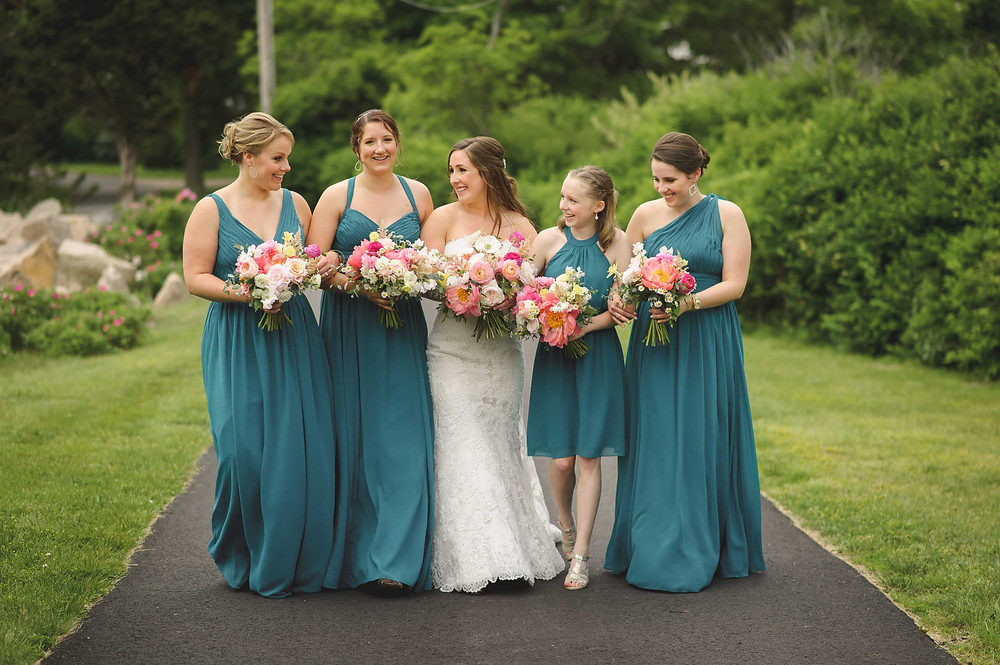 Coral Peony wedding bouquets