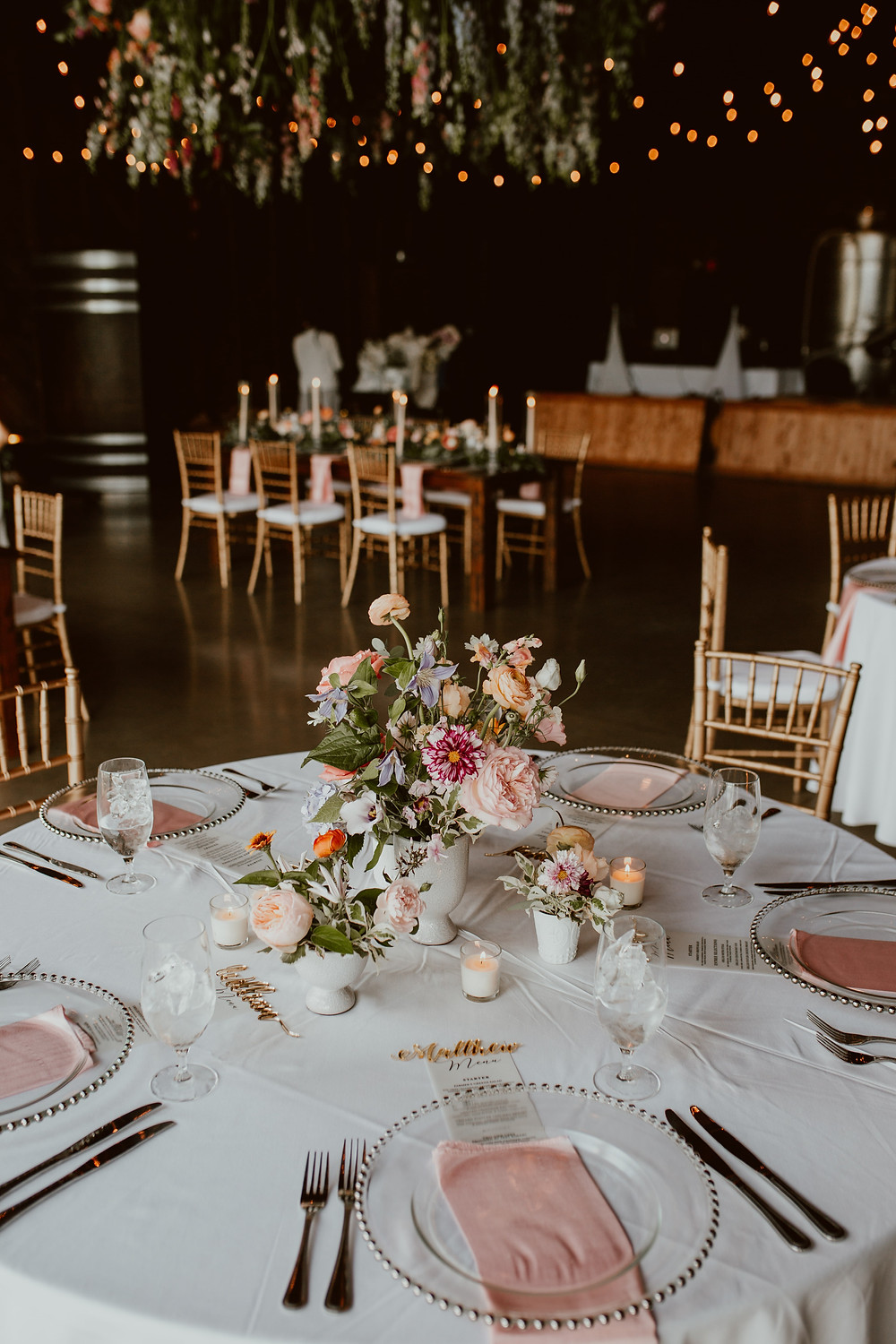 Colorful wedding centerpieces at Saltwater Farm Vineyard