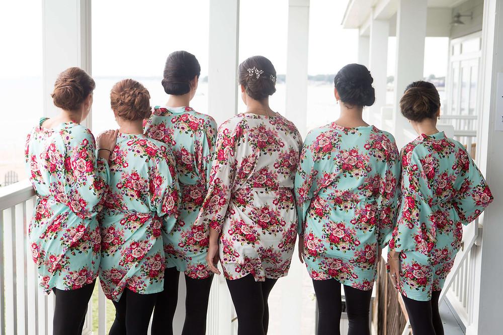 Flower printed bridal robes