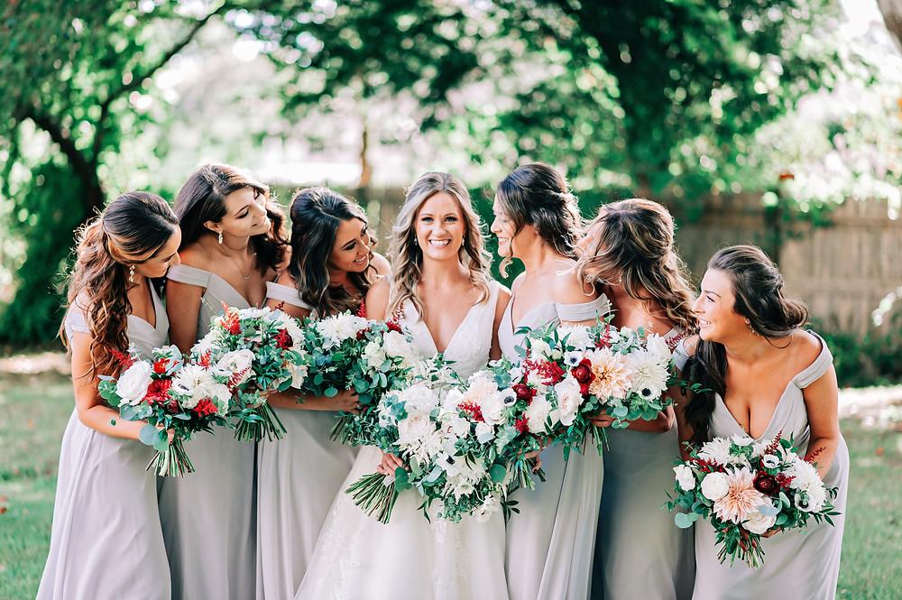 Bridesmaid and bride