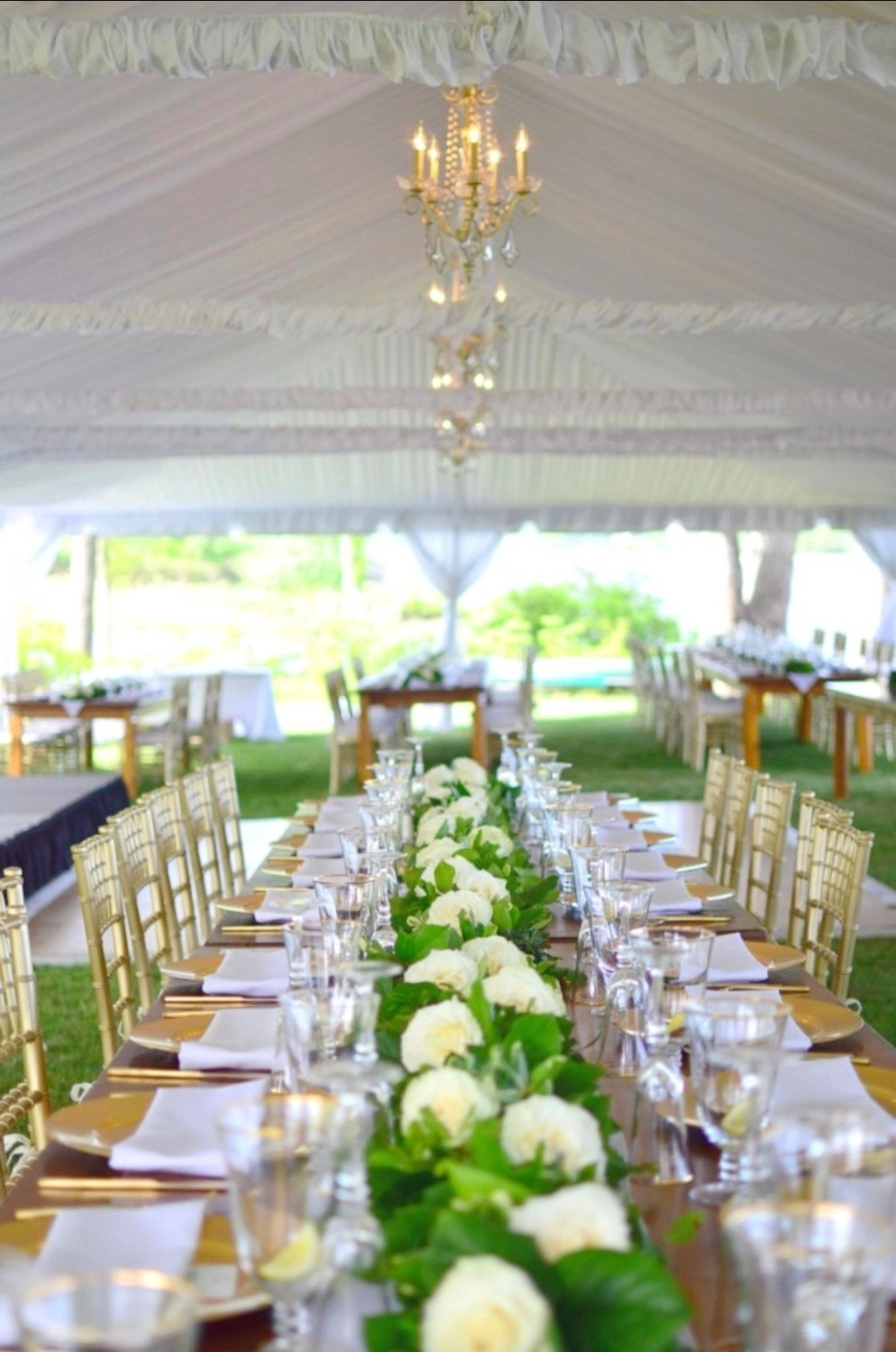 Green garlands centerpieces with white Roses