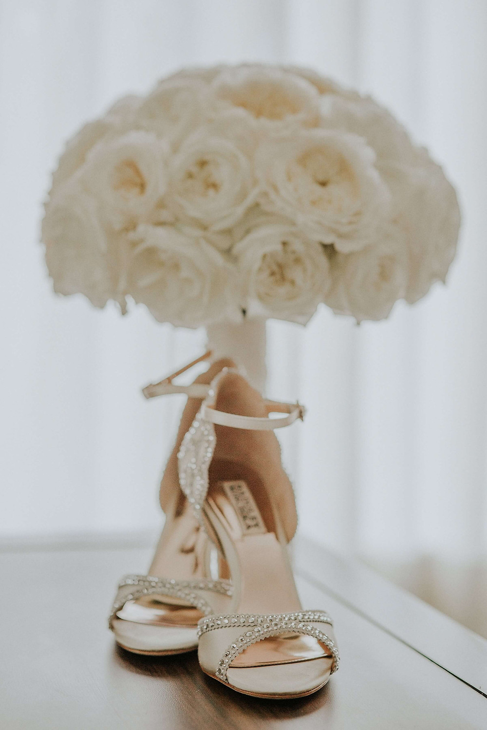 Classic style wedding bouquet at The Barns