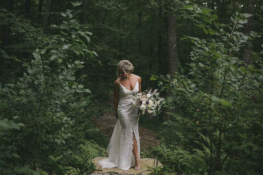 White & Maroon rustic wedding bouquet at Chatfield Hollow Inn