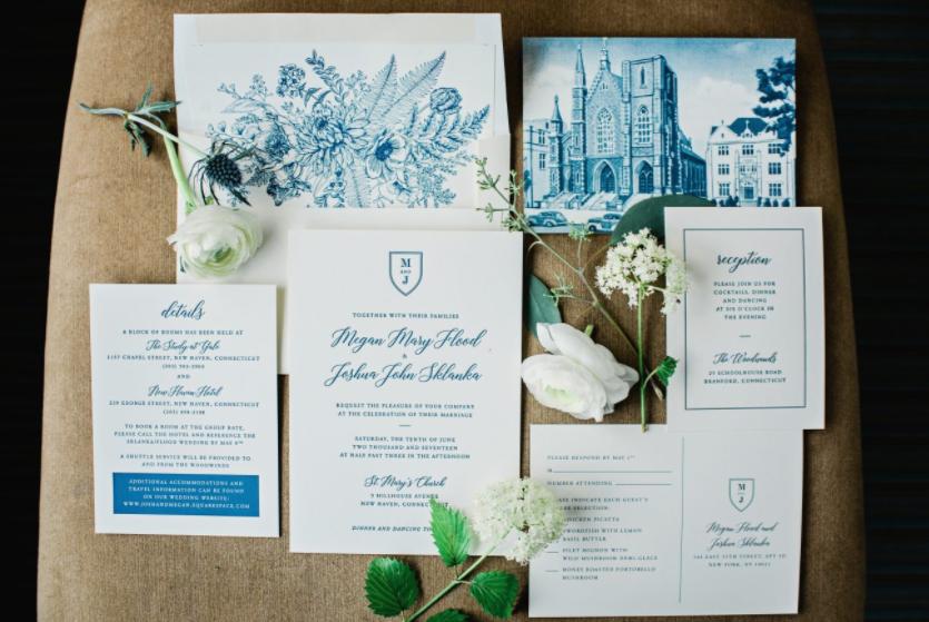 NY Style Classic Peony Wedding | Invitation