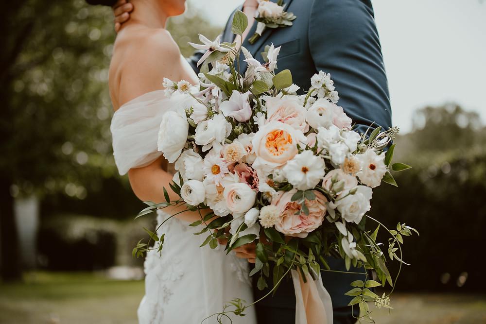 Summer white & blush pink wedding bouquet
