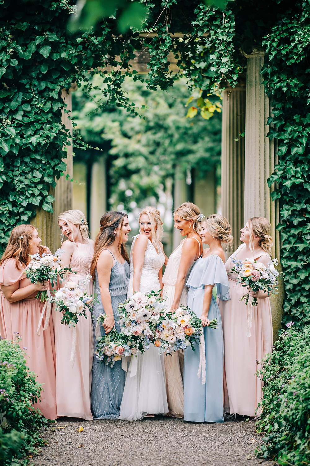 Blush & light blue pastel summer wedding photoshoot at Eolia Mansion, pastel color bridesmaids dresses