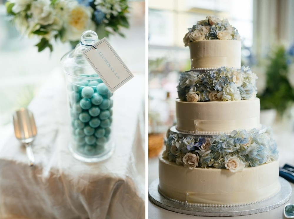 Wedding cake with blue Hydrangeas and white Spray roses