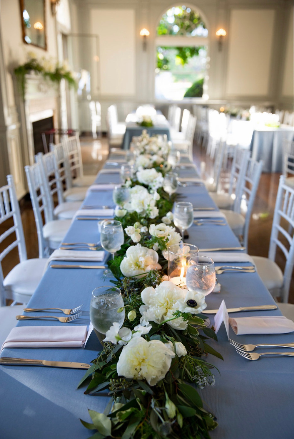 White Peony floral garlands centerpieces at Eolia Mansion, Harkness State