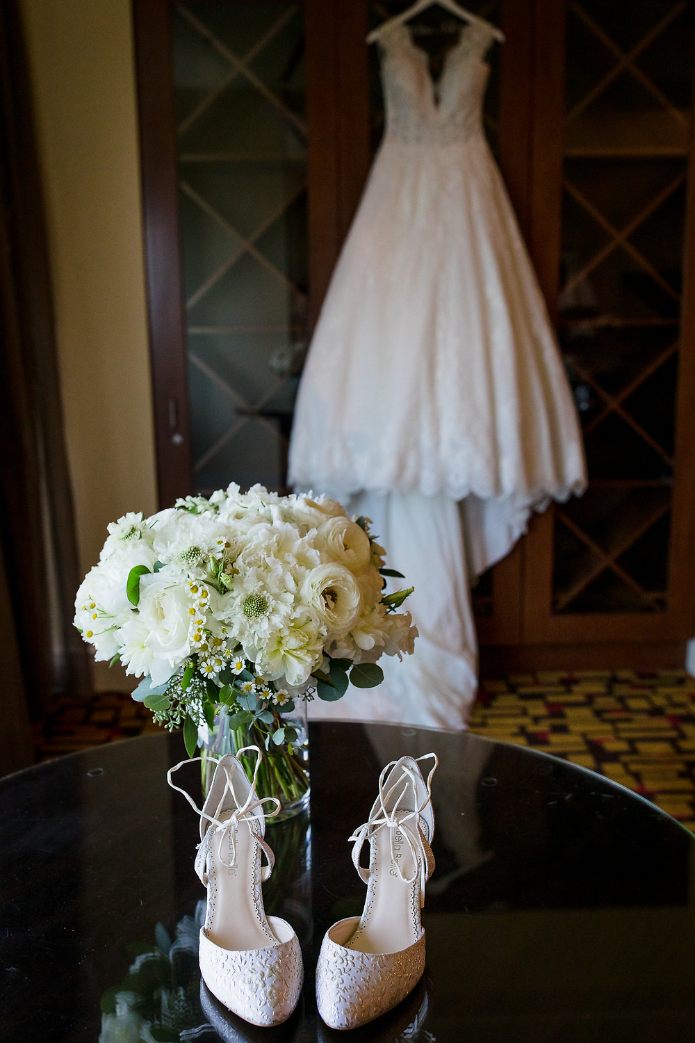 Classic white wedding bouquet at Foxwoods Hotel