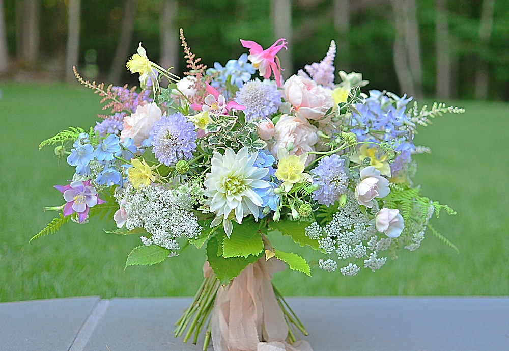 Summer bouquet with Astilbes, Dahlias, Delphiniums, Scabiosas, Lace flowers, and Garden roses by Koko Floral Design in Guilford