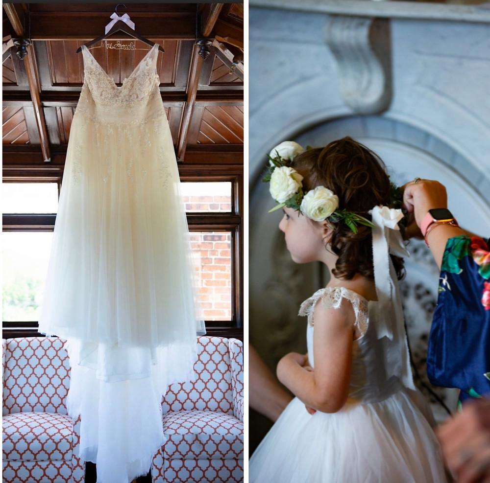 Wedding gown & Flower girl floral crown