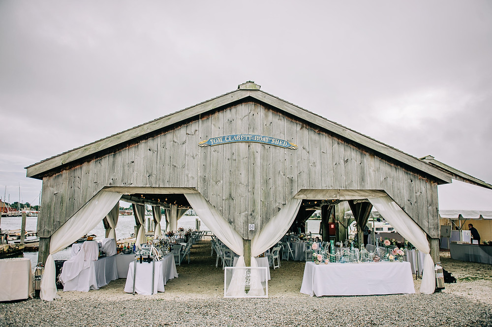 Blush & light blue pastel summer wedding at Boat shed in Mystic Seaport Museum