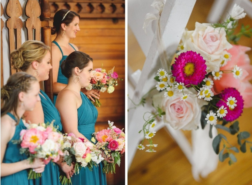 Coral peony bridemaid's bouquets and ceremony chair decor