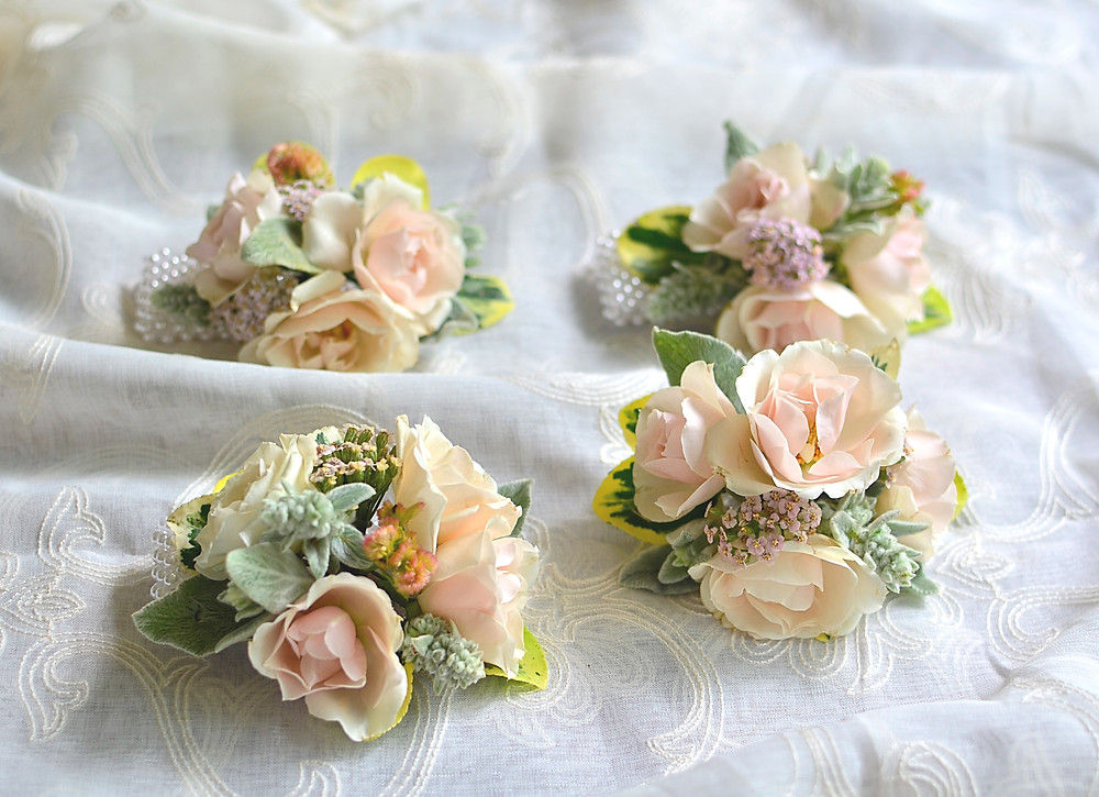 Blush Summer Wedding at The Barns | Corsages