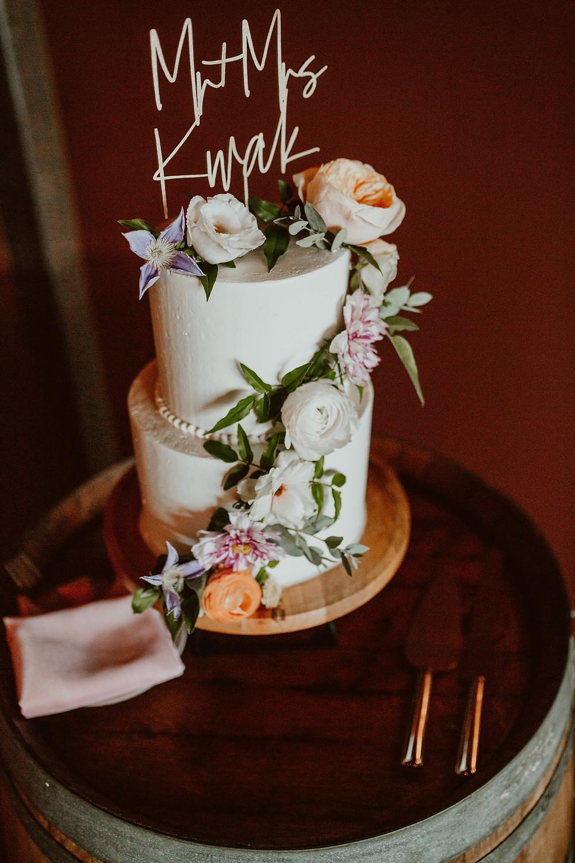Colorful wedding cake at Saltwater Farm Vineyard