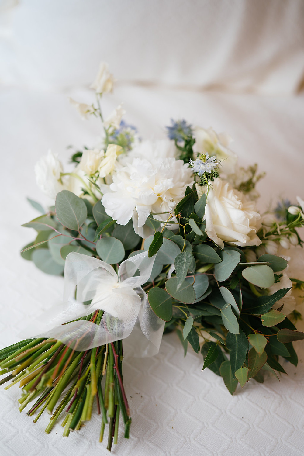 Bridal bouquet with Peony and something blue