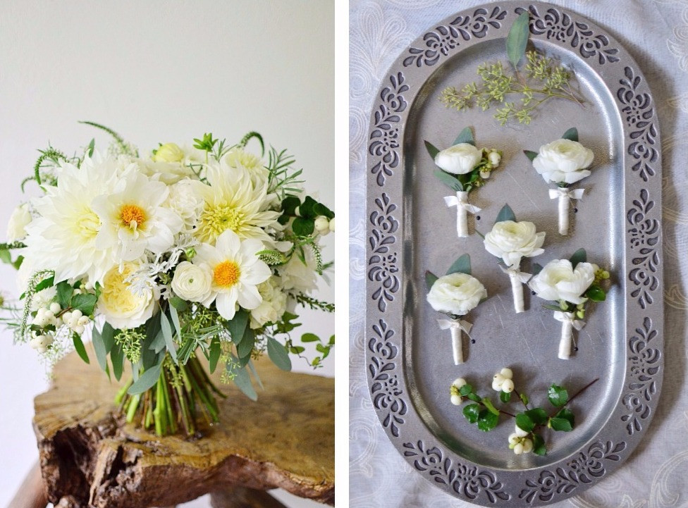 Dahlias & Baby's Breath White Wedding at Guilford Yacht Club | Boutonnieres & Bride's bouquet