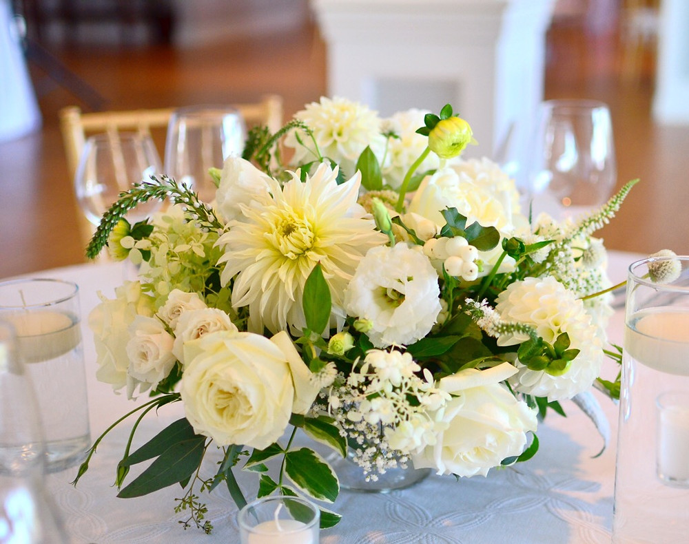 Dahlias & Baby's Breath White Wedding at Guilford Yacht Club | Low Centerpieces