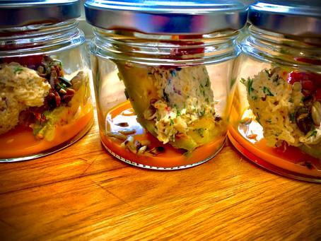 Avocat rôti, tourteau, vinaigrette de mangue