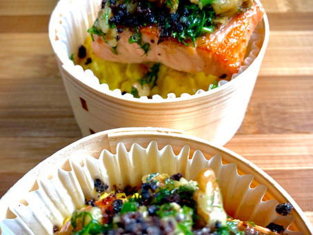 #cocktail dînatoire #Boîte chaude «saumon, vierge huile de noix»