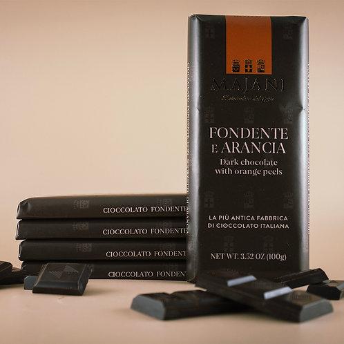 Tavoletta di Cioccolato Fondente 52% e Arancia 100g