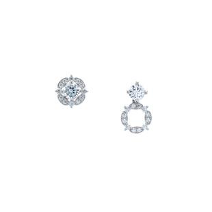 Elegant Four Pointed Star 0.50ct Three Way Silver Zirconia Earrings