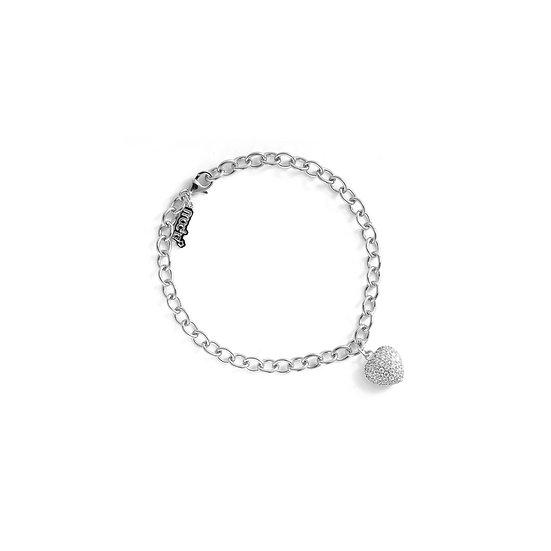 Rounded Pave Heart Silver Zirconia Bracelet