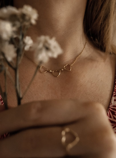 collier amour 3 coeurs