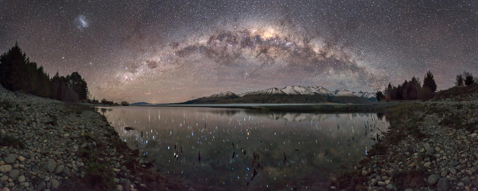 Reflections in Lake Pukaki  Lake Pukaki, near Mt Cook, New Zealand