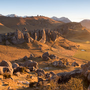 Castle Hill  The incredible majestic Castle Hill scenic reserve - Kura Tawhiti - illuminated by the warm glow of dawn  LS016