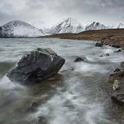 Stormy Shores.  Lake Heron is buffeted by an incoming winter storm