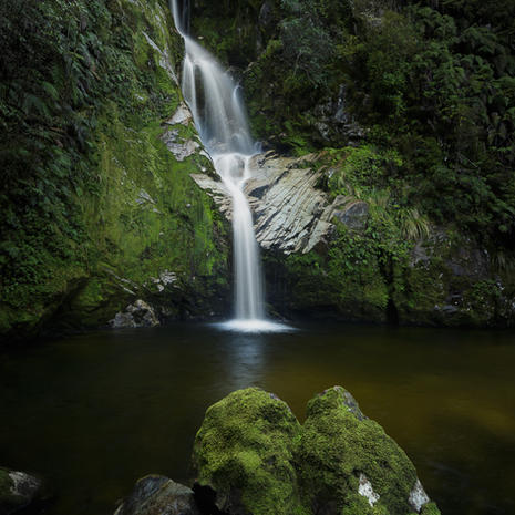 Dorothy Falls  Last time I made my way to this cascade it was filling hte gully and thundering across the rocky stream bed - keeping the camera dry became too great a challenge to even contemplate making an image!  This is a 3-shot shift-panorama, using a Canon TS-E 24mm, f/13, 1.6s  WF010