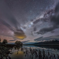 Our 'Dark Sky' reserve  Lake Pukaki, looking away from Mt Cook you can clearly see the glow of reflected lights from Twizel in the distance.