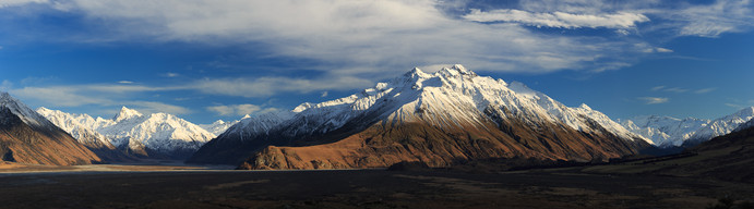 Erewhon  Looking up towards Erewhon station (right) and D'Archiac peak (left) from the iconic Mt Sunday - made famous as the site of Rohan from the Lord of the Rings Trilogy  This image is available as a huge panoramic print - please get in touch if you're interested!