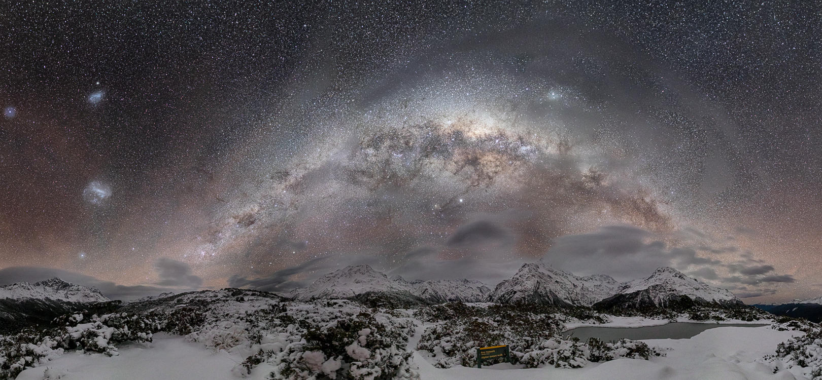 Key Summit  The Milky Way arch setting over Fiordland's majestic snow-capped mountains  This image is available as an A2 signed, limited edition (20) fine art print - Get in touch for more details  Print 1/20: $448.50 NZD