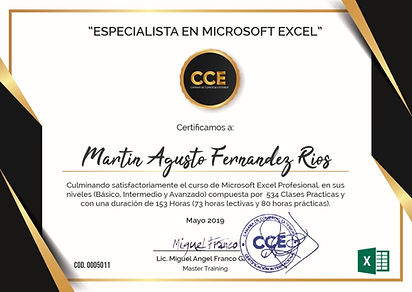 Certificado Excel Profesional - Modelo.j