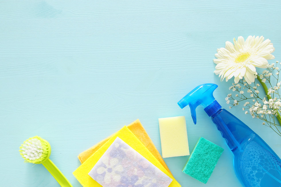Spring cleaning concept with supplies on