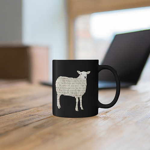 11oz Black Psalm 23 gifts Sheep Mug