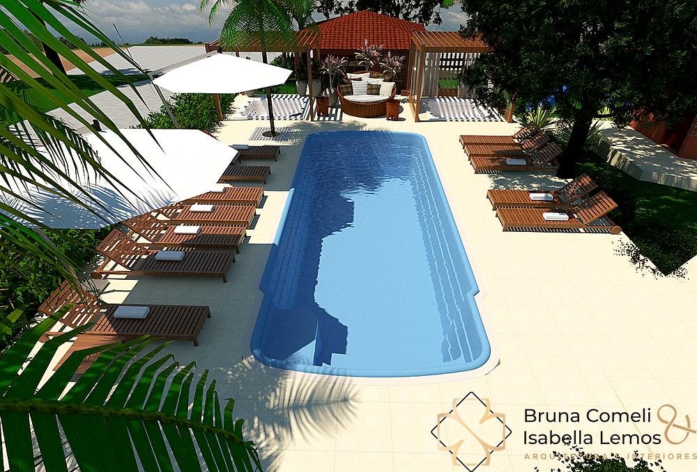 Projeto da nova piscina, spa ao ar livre e espaços de terapias naturais