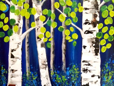Midnight Blue Birches Mini