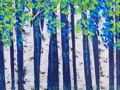 Midnight Blue Birches