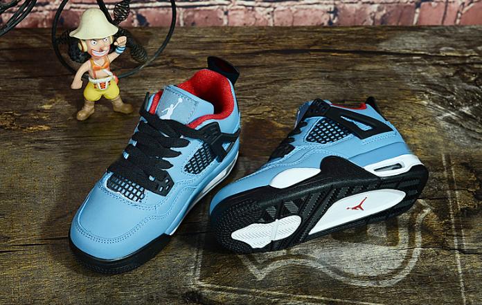 18fa0884454e Kids Winter Basketball Shoes Air Jordan 4 Lake blue black white