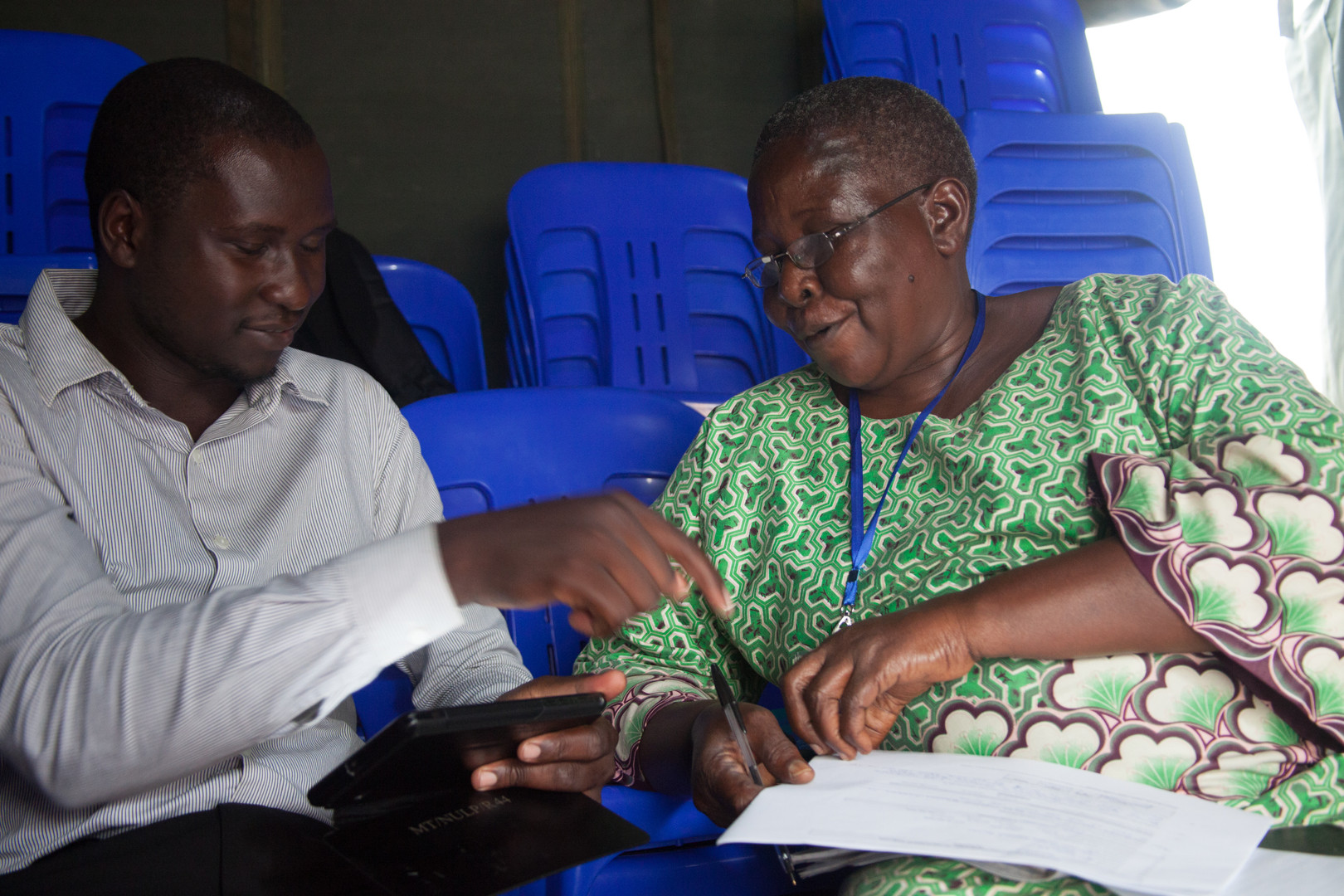 Enumerators practice administering the EGRA on each other.