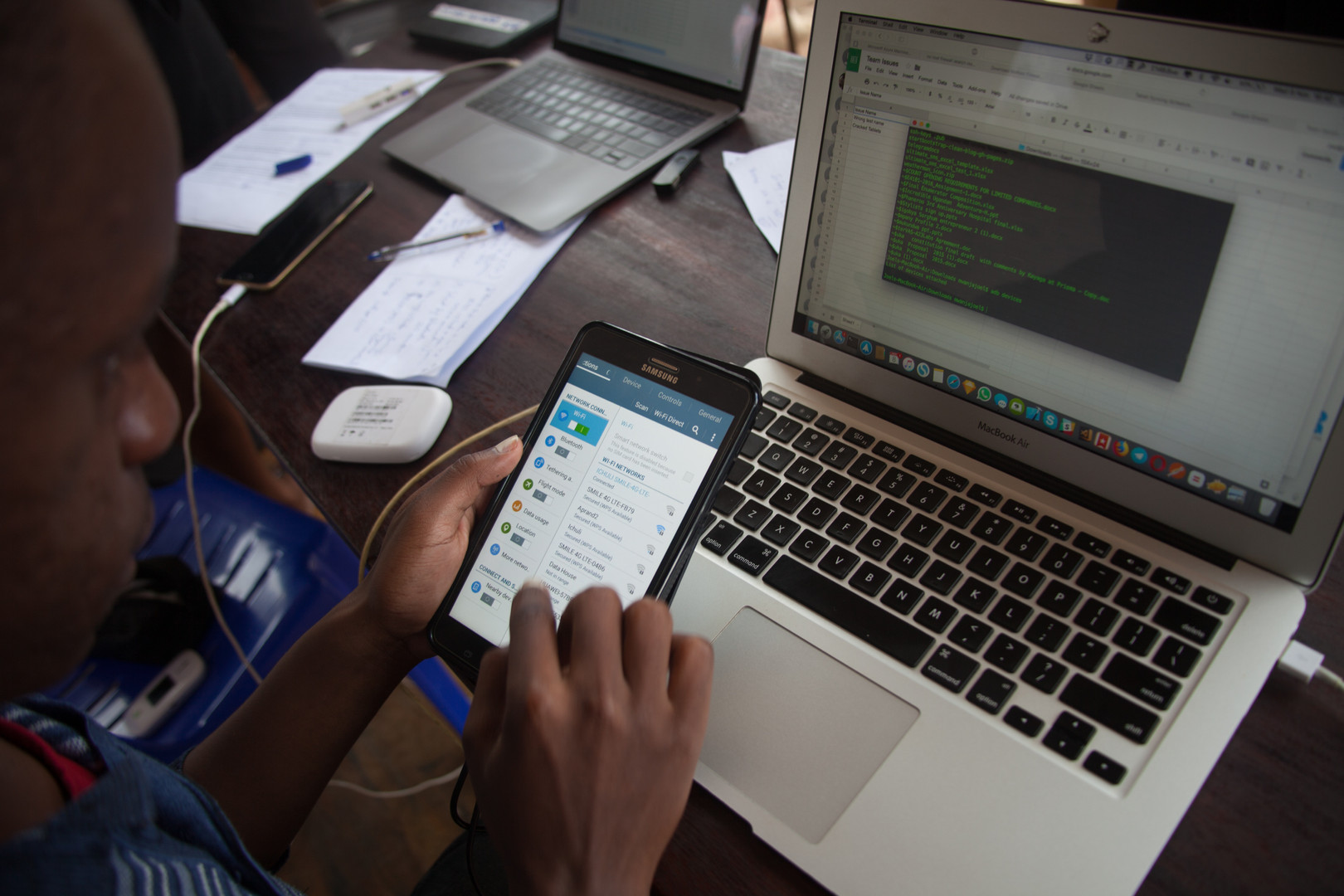 At the end of each day, enumerators upload their data to one of the main computers.
