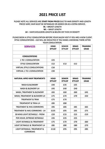 Ebony B Price List 2021