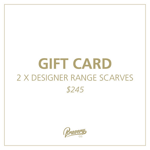 2 x DESIGNER RANGE Scarves Gift Voucher + Postage