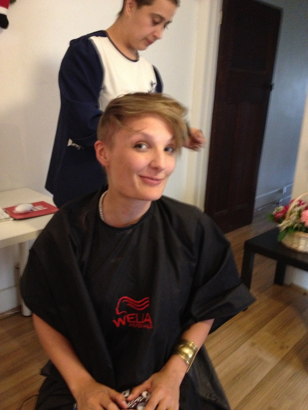 Emily Somers trying out the double undercut during her first big shave.